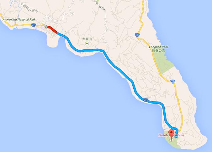 懇丁大街到鵝鑾鼻公園車程約 13 分鐘